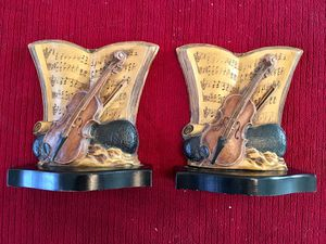 Antique Violin and Sheet Music Wooden Bookends for Sale in Norwalk, OH