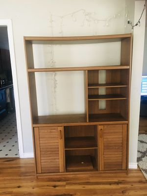 wooden display shelves entertainment center bookshelf storage organizer bookcase cabinet for Sale in Garland, TX
