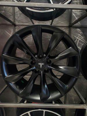 19x8.5 5x114 et35 Tesla turbine wheels fits Model 3 and new model Y satin black rim wheel tire shop for Sale in Tempe, AZ