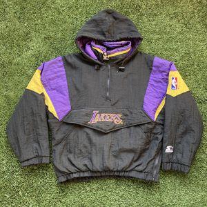 Vintage 90s Los Angeles LA LAKERS Script Black STARTER Parka Hoodie Pullover Puff Puffer Jacket for Sale in San Diego, CA