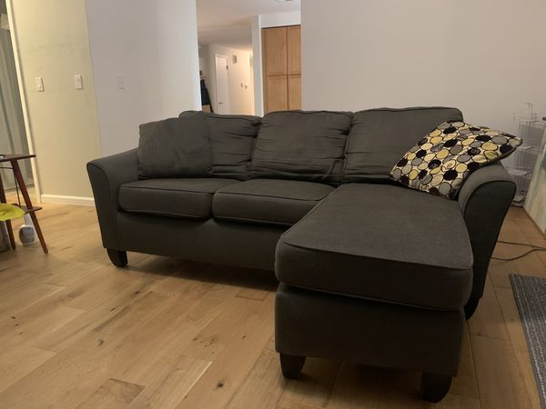 Grey Stanton Loveseat With Reversible Chaise