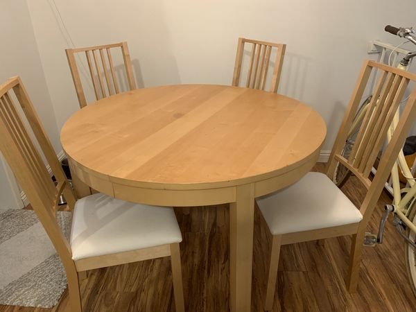 IKEA Bjursta dining table with matching 4 chairs - must pick up soon