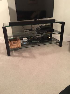 Crate and barrel metal and glass entertainment console table for Sale in Denver, CO