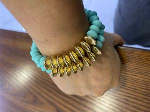 Gold and Turquoise Wooden Bead Bracelet for Sale in Miami Beach, FL