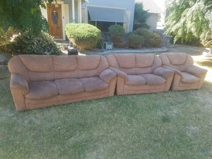 3 piece couch set microfiber sofa love seat and single for Sale in Turlock, CA