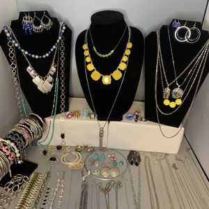 75 Silver Toned Jewelry bundle: Necklaces Bracelets Bangles Rings Brooches for Sale in Las Vegas, NV