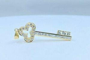 18K Yellow Gold Diamond & Baguette Key Pendant for Sale in Buena Park, CA