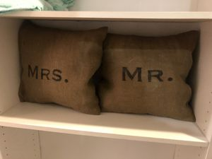 Lamp, mr & Mrs pillow set, tall candle stick for Sale in Snohomish, WA