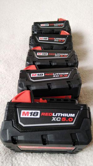 Milwaukee BATTERY M18 Red Lithium 5.0 ah ( $65 each one) Baterías Nuevas for Sale in Los Angeles, CA