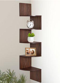 5 Tier Wall Mount Corner Shelves, Home Decor Hanging Shelves, Walnut for Sale in Corona,  CA