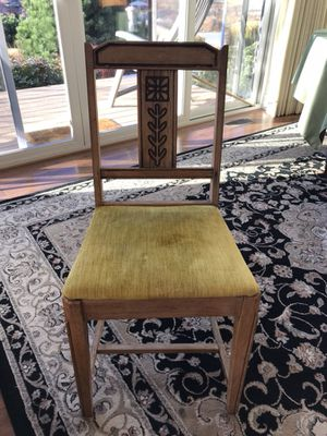 Light carved wood and crushed velvet chair for Sale in Leavenworth, WA