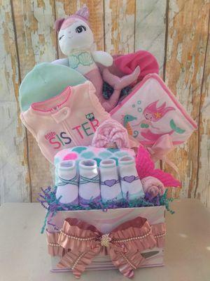 Mermaid gift basket, baby girl gift, baby shower gift, mermaid baby for Sale in Lake Placid, FL