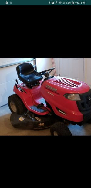 Troy Bilt Bronco riding lawn mower. May trade for newer electric/key start,self propelled lawnmower for Sale in Independence, OH