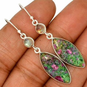 Ruby Fuchsite & Moonstone 2 1/8. 925 earrings for Sale in San Antonio, TX