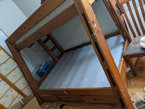 Solid wood bunk bed; full ; twin with twin mattress for Sale in Fairfax Station, VA