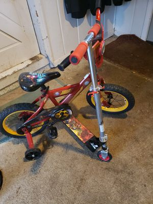 childs iron man bike and avengers scooter for Sale in Grosse Pointe, MI