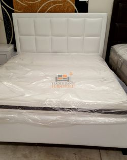 Brand New Queen Size White Leather Platform Bed Frame for Sale in Silver Spring,  MD