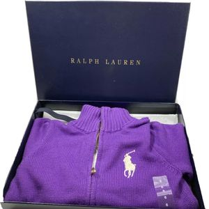 Polo Ralph Lauren Purple Zipper Cardigan Sweater Girls Size 6 Big Pony Pockets for Sale in Williamsburg, VA