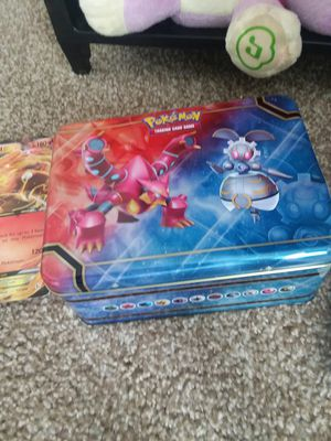 Pokemon lunchbox , puggy back,cards and Large special editions cards for Sale in Columbus, IN