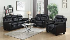 2PC LIVING ROOM SET BLACK LEATHRETTE--SOFA AND LOVE SEAT for Sale in Antioch, CA