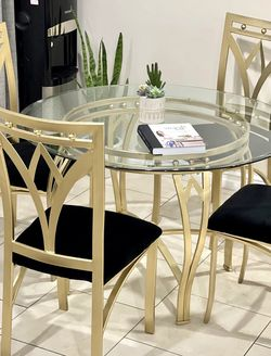 Repurposed Round Gold Glass Dining Table Set With Matching Black Velvet Chairs for Sale in Orange,  CA