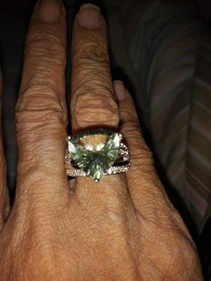 Beautiful Prasiolite Women's Ring Set in .925 Sterling Silver Size 5 for Sale in Detroit, MI