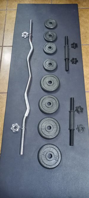 40 LBS.ADJUSTABLE CAST IRON DUMBBELL SET .PLUS CURL BAR. BRAND NEW IN BOX for Sale in Long Beach, CA