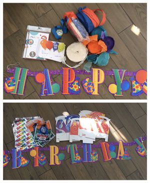 miscellaneous BIRTHDAY PARTY supplies + decor - banner invites thank you cards & more for Sale in Tustin, CA