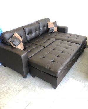 Brand New Espresso Bonded Leather Sectional Sofa Couch + Ottoman for Sale in Falls Church, VA