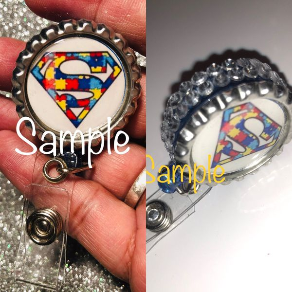 Badge reels with crystals or with out. Una sex