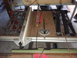 Craftsman commercial table saw on lockable wheel frame. for Sale in Brooksville, FL