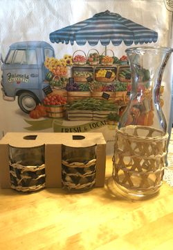 Blue woven glasses & Carafe for wine or water for Sale in Orange,  CA