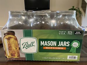 Ball Wide Mouth Canning Mason Jars, Half Gallon Clear Glass Jar, 64Oz 6 Pack NEW for Sale in Las Vegas, NV