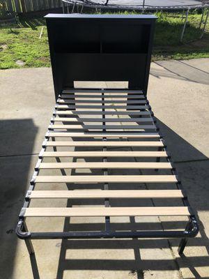 Black twin size headboard, frame and mattress (if wanted) for Sale in Santa Cruz, CA