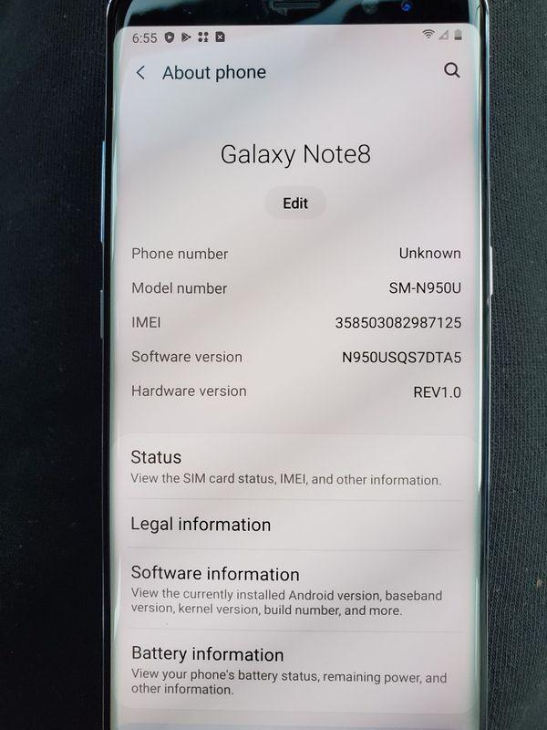 Unlocked note 8 64gb any sim works