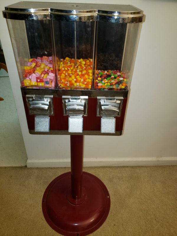 """PENDING PICKUP, Triple Gumball and Candy Vending Machine 42""""×15""""x8"""""""