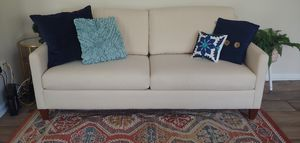 Natural White Linen Couch Ethan Allen FREE DELIVERY for Sale in Tampa, FL
