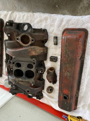 Chevy 350 sbc small block intake manifold valve covers water neck thermostat for Sale in Escondido, CA