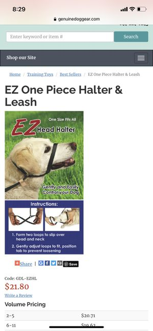 Head halter + leash combo ONE SIZE FITS ALL for Sale in Clovis, CA