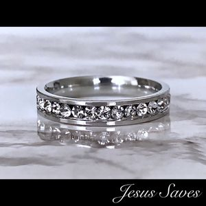 4mm Stainless Steel Single Row CZ Ring Sizes In Description for Sale in Fresno, CA