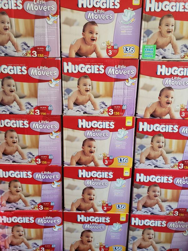 Nuevos Pañales Huggies Baby Diapers Little Movers size 3. 136 Pañales $35 Firm