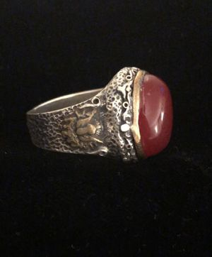 Oval Carnelian Intaglio Aqeeq Style Silver & Bronze Heraldic Eagle Ring Size 9.5 for Sale in Nashville, TN