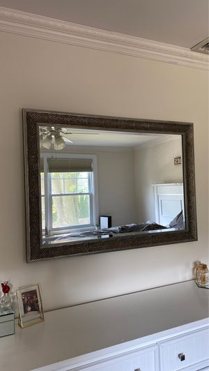 Grey textured hanging wall mirror in perfect condition for Sale in Closter, NJ