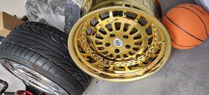 Four 19x9.5 ESM 15 5x120 +20 platinum Chrome/ Gold rivets Rim for Sale in Brooklyn, NY