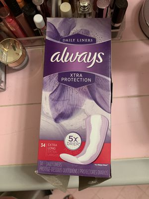 Always Xtra Protection 34 ct Extra Long Panty Liners for Sale in Los Angeles, CA