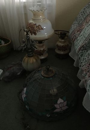 Vintage stained glass with candle lights fixture and vintage lamps lot for Sale in Lakewood, OH