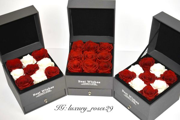 Eternal Box Roses Real Preserved Flowers Jewelry Box Jewelry Case Christmas Gift Thanksgiving Immortal Roses Drawer