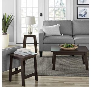 """3 Piece Coffee Table and End Table Set, Espresso Finish (in box) $75.00 32.28"""" L X 19.45"""" W X 19.84"""" HIncludes two side tables and one coffee table for Sale in Houston, TX"""
