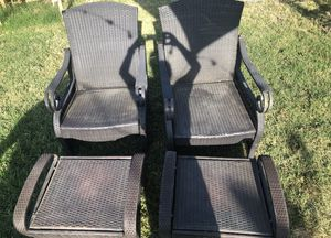Rattan, lounge chairs with foot rest for Sale in Westminster, CA