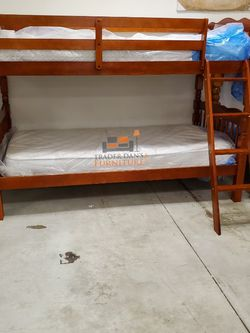 Brand New Twin Size Cherry Wood Bunk Bed + 2 Mattresses for Sale in Silver Spring,  MD